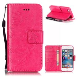 Embossing Butterfly Flower Leather Wallet Case for iPhone SE / iPhone 5s / iPhone 5 - Rose