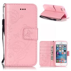 Embossing Butterfly Flower Leather Wallet Case for iPhone SE / iPhone 5s / iPhone 5 - Pink