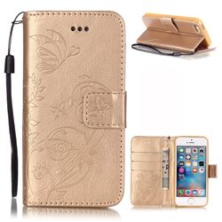 Embossing Butterfly Flower Leather Wallet Case for iPhone SE / iPhone 5s / iPhone 5 - Champagne