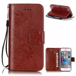 Embossing Butterfly Flower Leather Wallet Case for iPhone SE / iPhone 5s / iPhone 5 - Brown