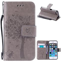 Embossing Butterfly Tree Leather Wallet Case for iPhone SE 5s 5 - Grey