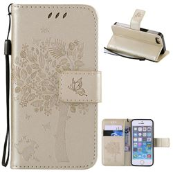 Embossing Butterfly Tree Leather Wallet Case for iPhone SE 5s 5 - Champagne