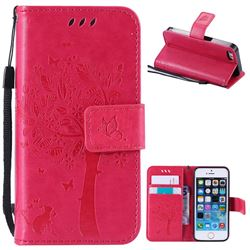 Embossing Butterfly Tree Leather Wallet Case for iPhone SE 5s 5 - Rose