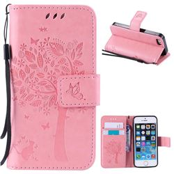 Embossing Butterfly Tree Leather Wallet Case for iPhone SE 5s 5 - Pink