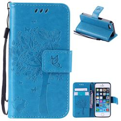 Embossing Butterfly Tree Leather Wallet Case for iPhone SE 5s 5 - Blue