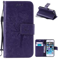 Embossing Butterfly Tree Leather Wallet Case for iPhone SE 5s 5 - Purple
