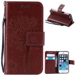 Embossing Butterfly Tree Leather Wallet Case for iPhone SE 5s 5 - Brown