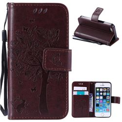 Embossing Butterfly Tree Leather Wallet Case for iPhone SE 5s 5 - Coffee