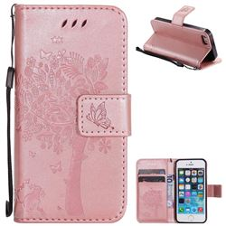 Embossing Butterfly Tree Leather Wallet Case for iPhone SE 5s 5 - Rose Pink