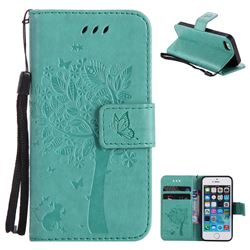 Embossing Butterfly Tree Leather Wallet Case for iPhone SE 5s 5 - Cyan