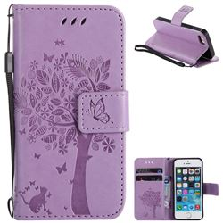 Embossing Butterfly Tree Leather Wallet Case for iPhone SE 5s 5 - Violet
