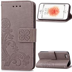 Embossing Imprint Four-Leaf Clover Leather Wallet Case for iPhone SE 5s 5 - Gray