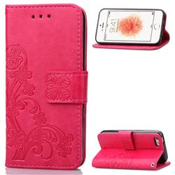 Embossing Imprint Four-Leaf Clover Leather Wallet Case for iPhone SE 5s 5 - Rose