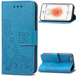 Embossing Imprint Four-Leaf Clover Leather Wallet Case for iPhone SE 5s 5 - Blue