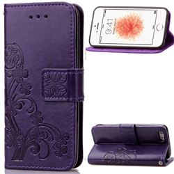 Embossing Imprint Four-Leaf Clover Leather Wallet Case for iPhone SE 5s 5 - Purple