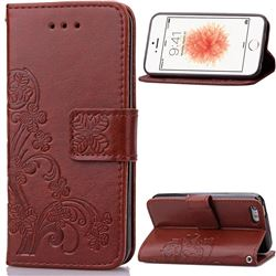 Embossing Imprint Four-Leaf Clover Leather Wallet Case for iPhone SE 5s 5 - Brown