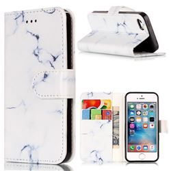 Soft White Marble PU Leather Wallet Case for iPhone SE 5s 5