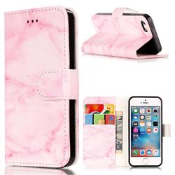 Pink Marble PU Leather Wallet Case for iPhone SE 5s 5