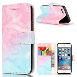 Pink Green Marble PU Leather Wallet Case for iPhone SE 5s 5
