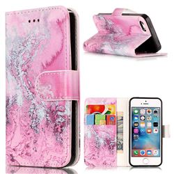 Pink Seawater PU Leather Wallet Case for iPhone SE 5s 5