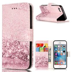 Glittering Rose Gold PU Leather Wallet Case for iPhone SE 5s 5