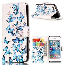 Blue Vivid Butterflies PU Leather Wallet Case for iPhone SE 5s 5