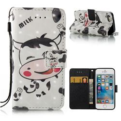 Milk Cow 3D Painted Leather Wallet Case for iPhone SE 5s 5