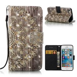 Golden Flower 3D Painted Leather Wallet Case for iPhone SE 5s 5