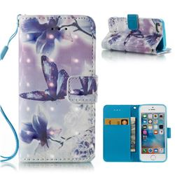 Butterfly Flower 3D Painted Leather Wallet Case for iPhone SE 5s 5