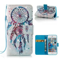 ColorDrops Wind Chimes 3D Painted Leather Wallet Case for iPhone SE 5s 5