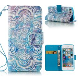 Mandala 3D Painted Leather Wallet Case for iPhone SE 5s 5