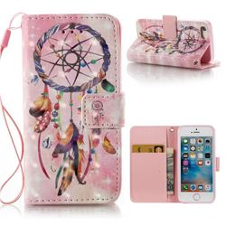 Bead Wind Chimes 3D Painted Leather Wallet Case for iPhone SE 5s 5