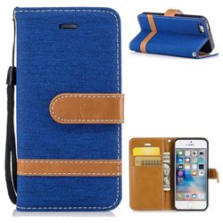 Jeans Cowboy Denim Leather Wallet Case for iPhone SE 5s 5 - Sapphire