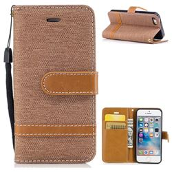 Jeans Cowboy Denim Leather Wallet Case for iPhone SE 5s 5 - Brown