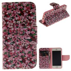 Intensive Floral PU Leather Wallet Case for iPhone SE 5s 5