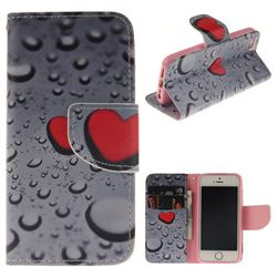 Heart Raindrop PU Leather Wallet Case for iPhone SE 5s 5