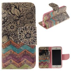 Wave Flower PU Leather Wallet Case for iPhone SE 5s 5