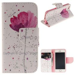 Purple Orchid PU Leather Wallet Case for iPhone SE 5s 5
