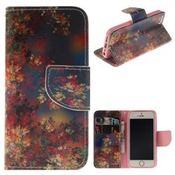 Colored Flowers PU Leather Wallet Case for iPhone SE 5s 5