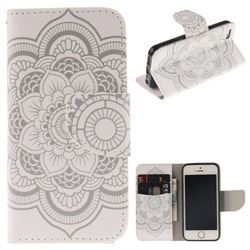 White Flowers PU Leather Wallet Case for iPhone SE 5s 5