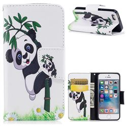 Bamboo Panda Leather Wallet Case for iPhone SE 5s 5