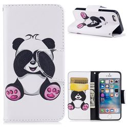 Lovely Panda Leather Wallet Case for iPhone SE 5s 5