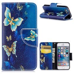 Golden Butterflies Leather Wallet Case for iPhone SE 5s 5