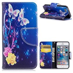 Yellow Flower Butterfly Leather Wallet Case for iPhone SE 5s 5