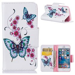 Peach Butterflies Leather Wallet Case for iPhone SE 5s 5
