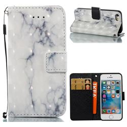 White Gray Marble 3D Painted Leather Wallet Case for iPhone SE 5s 5