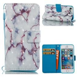 White Purple Marble 3D Painted Leather Wallet Case for iPhone SE 5s 5