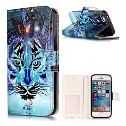 Ice Wolf 3D Relief Oil PU Leather Wallet Case for iPhone SE 5s 5