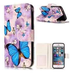 Purple Flowers Butterfly 3D Relief Oil PU Leather Wallet Case for iPhone SE 5s 5