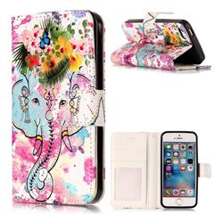 Flower Elephant 3D Relief Oil PU Leather Wallet Case for iPhone SE 5s 5